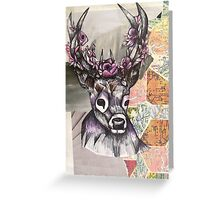 Stag Map Illustration Greeting Card