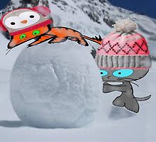 Two Cats Enjoy The Winter by JohnsCatzz