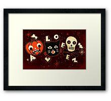 Halloween pumpkin cat skull vintage Framed Print