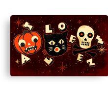 Halloween pumpkin cat skull vintage Canvas Print