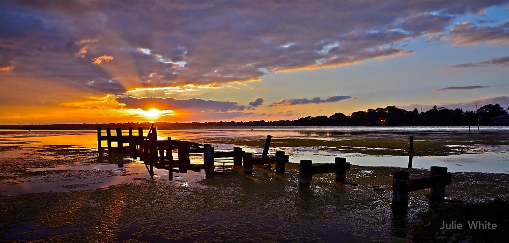 Ruined Jetty Sunrise. by Julie  White
