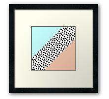 Mint & Orange Color Blocks & Black Brushstrokes Framed Print