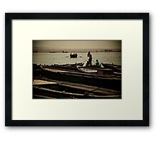 Boats on the Ganga Framed Print