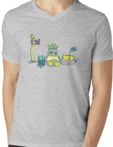 Penguin Capture the flag- defend with snowballs- snack with boredom Mens V-Neck T-Shirt