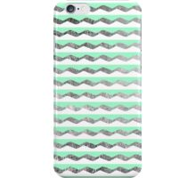 Mint Teal, White, & Faux Silver Zigzag Stripes iPhone Case/Skin
