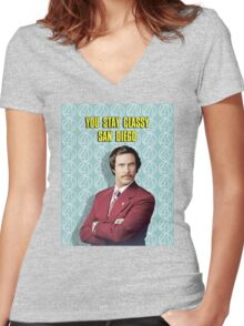 You Stay Classy San Diego, Ron Burgundy - Anchorman Women's Fitted V-Neck T-Shirt