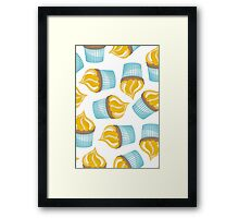 yellow cupcakes on white Framed Print