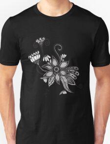 Simple Black & White Tangle Flowers T-Shirt