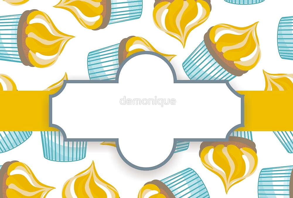 cupcakes on white with a label  by demonique