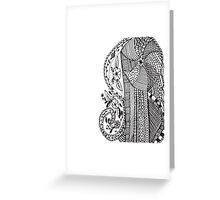 Trendy black white hand drawn aztec floral  Greeting Card