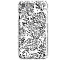 Modern black white hand drawn tangle flowers iPhone Case/Skin