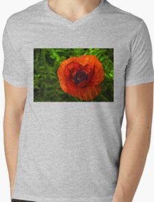 Red Poppy - Vibrant, Bold and Cheerful Mens V-Neck T-Shirt