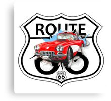 Vintage Route 66 US historic gifts red, white, black Canvas Print