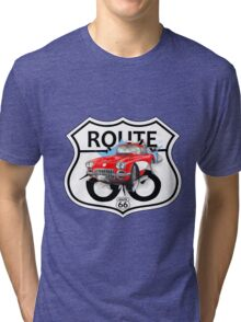 Vintage Route 66 US historic gifts red, white, black Tri-blend T-Shirt