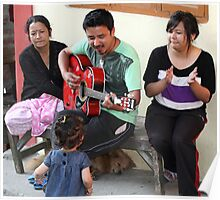 A musician entertaining his family. Poster