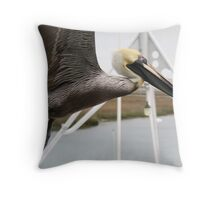 Pelican Up Close Flying thru the Masts Throw Pillow