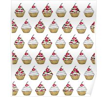 Cute Pink & White Floral Cupcake with Cherry on Top Poster