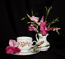 Lisianthus Lillies and Tea by AnnDixon