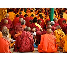 A Girl Among Monks Photographic Print