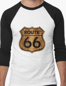 Vintage Route 66 US sign in snakeskin Men's Baseball ¾ T-Shirt