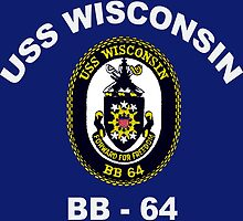 USS Wisconsin (BB-64) Crest for Dark Colors by Spacestuffplus