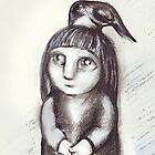 """Little girl and crow"" by Tatjana Larina"