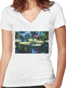 Waterlily Impressions - Dreaming of Monet Gardens Women's Fitted V-Neck T-Shirt