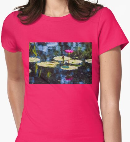Waterlily Impressions - Dreaming of Monet Gardens Womens Fitted T-Shirt