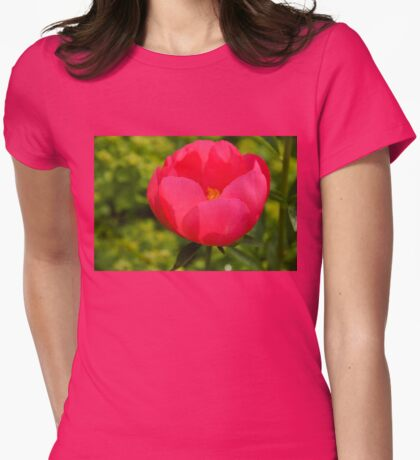Vivid Spring - Impossibly Pink Peony Unfolding Womens Fitted T-Shirt