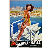 Vintage Marina di Massa Italian travel advertising Photographic Print
