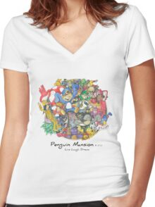 Penguin Mansion - Circle of Characters Women's Fitted V-Neck T-Shirt
