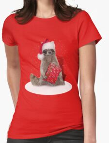 Christmas Bandit Raccoon  Womens Fitted T-Shirt