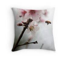 Cherry blossom bee Throw Pillow