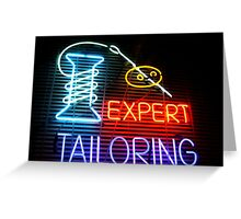 Expert Tailor Neon Sign Greeting Card