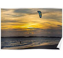 The Kite Surfer at Sunset Poster
