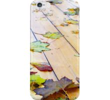 Close up view on a wet green and yellow leaves of maple iPhone Case/Skin