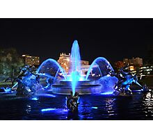 J.C. Nichols Fountain in Royal Blue Photographic Print