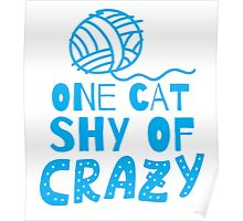 One cat shy of CRAZY! with ball of wool Poster