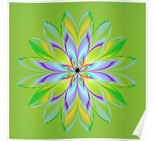 Green Fractal Flower Poster