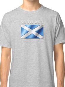 Scotland - Scottish Flag & Text - Metallic Classic T-Shirt