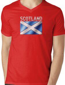 Scotland - Scottish Flag & Text - Metallic Mens V-Neck T-Shirt