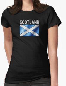 Scotland - Scottish Flag & Text - Metallic Womens Fitted T-Shirt