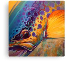 """River Orchid"" Large Contemporary Trout Painting  Canvas Print"