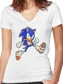 Sonic Boom Adventure Women's Fitted V-Neck T-Shirt