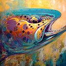 &quot;Fire From Water&quot; Rainbow Trout Contemporary Art by Mike Savlen