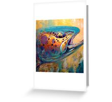 """""""Fire From Water"""" Rainbow Trout Contemporary Art Greeting Card"""