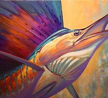 """ Rising Son "" Original Sailfish art 30"" x 40 "" acrylic on gallery wrap canvas by Mike Savlen by Mike Savlen"