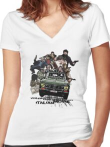 """Poliziottesco"" Italian Movies Women's Fitted V-Neck T-Shirt"