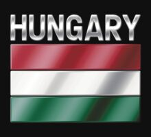 Hungary - Hungarian Flag & Text - Metallic by graphix