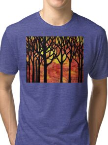 Abstract Fall Forest Tri-blend T-Shirt